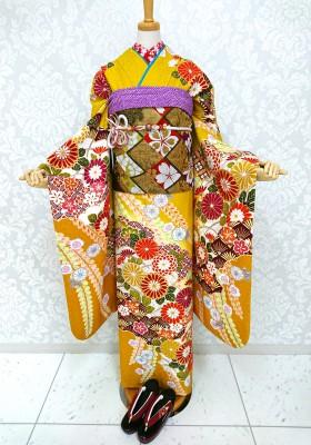 【川越店】今人気!マスタード色のお振袖のご紹介【レンタル着物】
